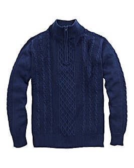WILLIAMS & BROWN Zip Neck Cable Jumper