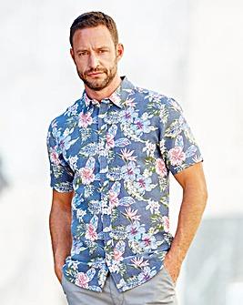 WILLIAMS & BROWN Floral Linen Mix Shirt