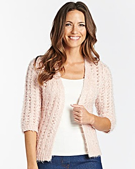Pointelle Fluffy Edge to Edge Shrug