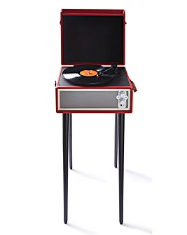 Retro Record Player with Legs Red