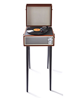 Retro Record Player with Legs Brown