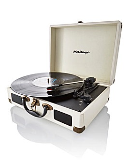 Retro Suitcase Style Turntable Cream