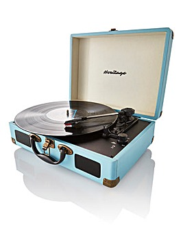 Retro Suitcase Style Turntable Duck Egg