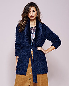 Fur Trim Fluffy Edge To Edge Cardigan