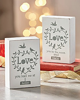 Loved Up Plaques Set Of Two