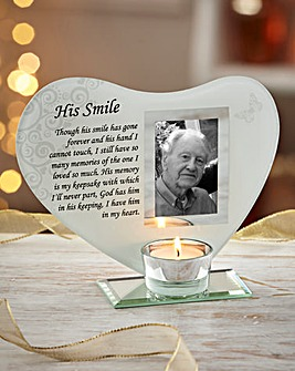 His Smile Glass Tealight Holder