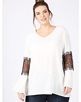 lovedrobe GB ivory blouse lace sleeves