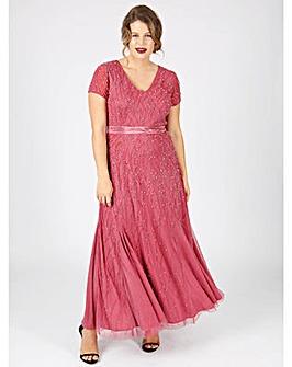 Lovedrobe Luxe mauve v-neck maxi dress