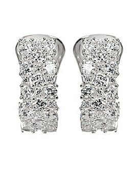 Silver Cubic Zirconia Clip On Earrings