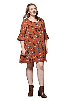 Yumi Curves Bird Print Tunic Dress