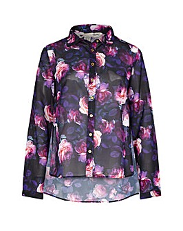 Yumi Curves Floral Rose Print Shirt