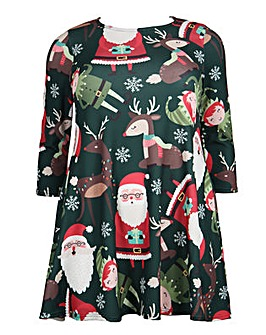 Koko Santa print Christmas swing dress