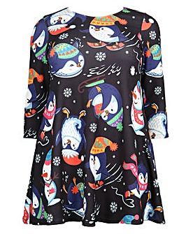 Koko snowman print Christmas swing dress