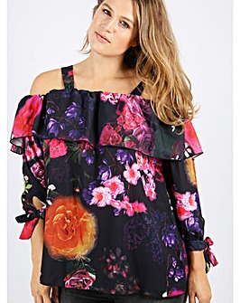 Koko Purple Floral Bardot Top