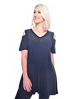 Grace cold shoulder studded tunic