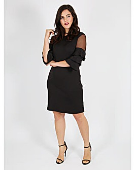 Koko mesh inserts frill sleeve dress