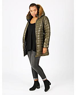 Koko khaki belted longline padded jacket