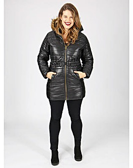 Koko black belted longline padded jacket