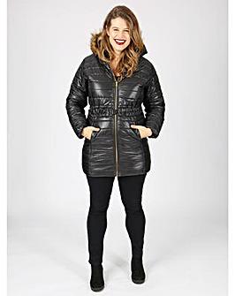 Koko black belted longline padded jacket
