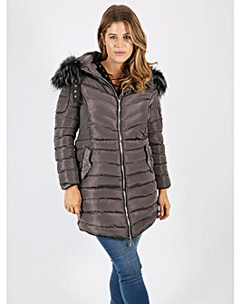 Lovedrobe grey longline quilted jacket