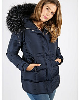 Lovedrobe navy longline quilted jacket