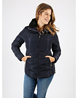Lovedrobe navy faux fur hood jacket