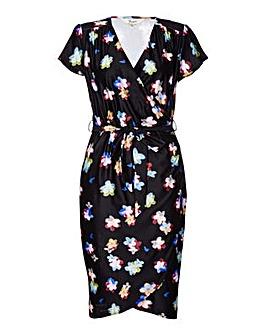 Yumi Curves Blurred Flower Wrap Dress