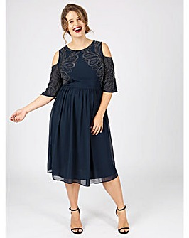 Lovedrobe Luxe angel sleeve midi dress