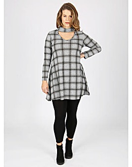 Koko grey check print swing dress