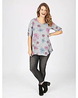Koko grey floral tab sleeve top