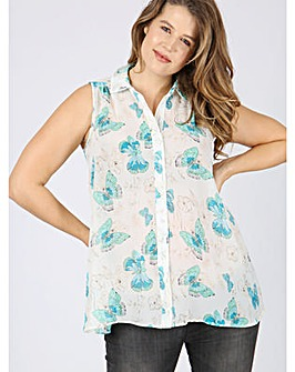 Koko butterfly print sleeveless blouse