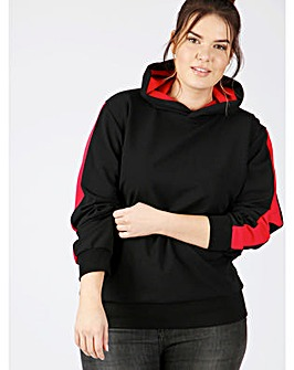 Koko black hooded top with red stripe