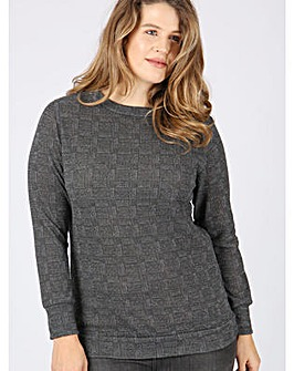Koko grey tweed print jumper