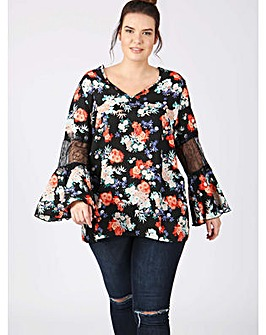 Lovedrobe GB floral blouse lace sleeves