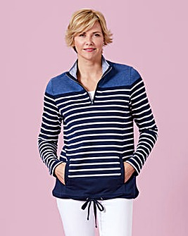 Stripe Sweatshirt with Zip