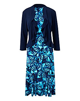 Butterfly Print Dress & Shrug L39