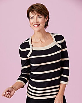 Stripe Jumper with Button Detail