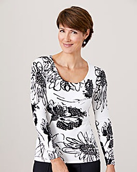 Print Jumper with Embellishment