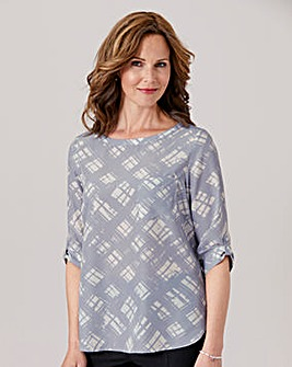 Blouse with Tab Sleeve Detail
