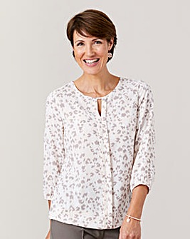 Print Pleat Front Blouse