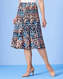 Slimma Print Panelled Skirt L27in