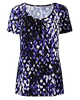 Animal Print Jersey Round Neck Top