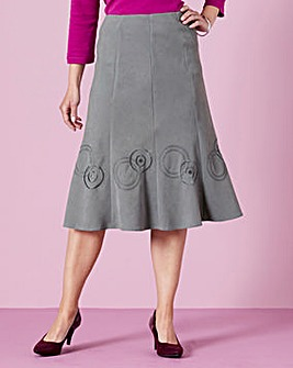 Moleskin Skirt with Embroidery Detail