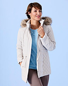 Slimma Microfibre Jacket with Fur Trim