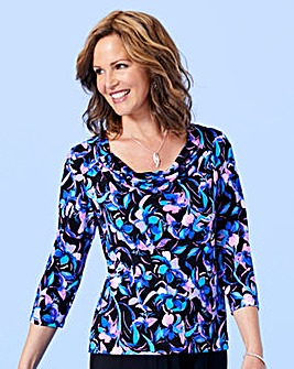 Print Cowl Neck Jersey Top
