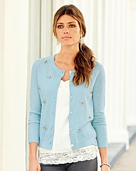 JOANNA HOPE Jewel Embellished Cardigan