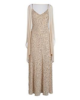 JOANNA HOPE Beaded Maxi Dress and Scarf
