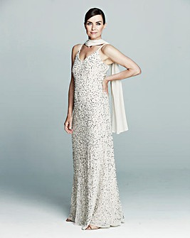 JOANNA HOPE Beaded Maxi Dress and Scarf