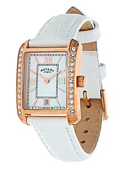 Rotary Ladies White Strap Watch