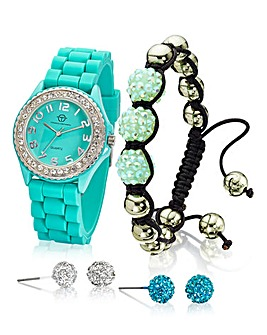 Crystal Watch, Bracelet & Earrings